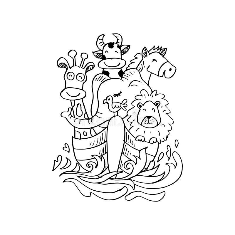 Χαριτωμένα ζώα στη βάρκα cartoon commander gun his illustration soldier stopwatch ελεύθερη απεικόνιση δικαιώματος