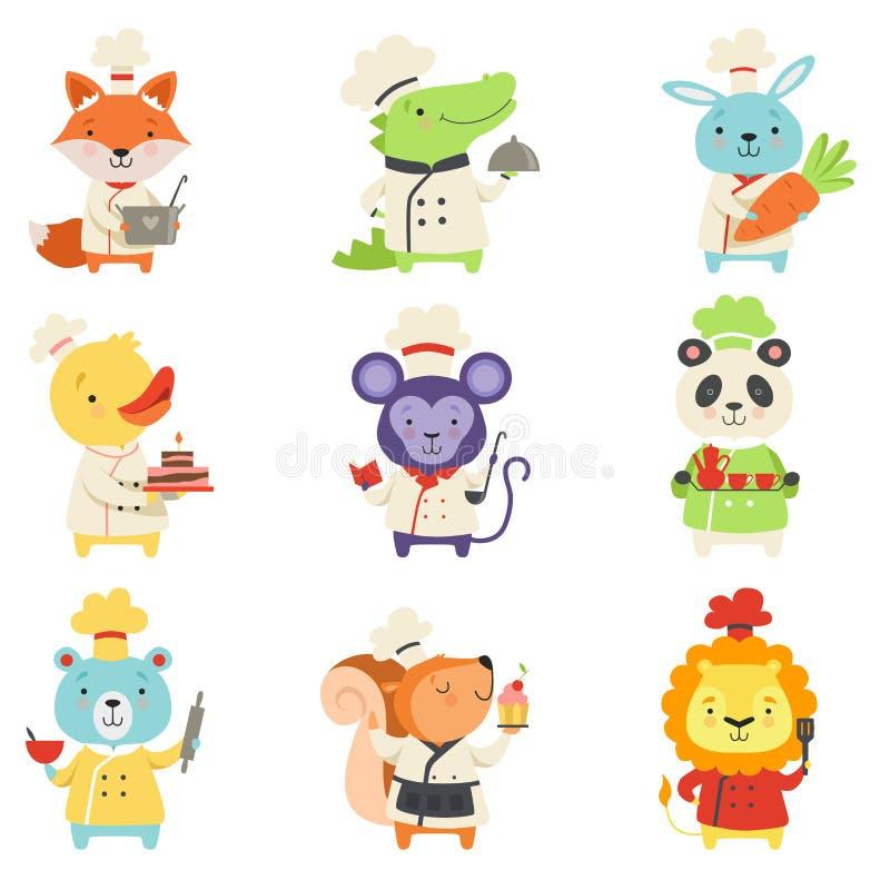 Χαριτωμένα ζώα στο ομοιόμορφο σύνολο αρχιμαγείρων, καλοί χαρακτήρες κατοικίδιων ζώων κινούμενων σχεδίων που μαγειρεύουν την εύγευ ελεύθερη απεικόνιση δικαιώματος