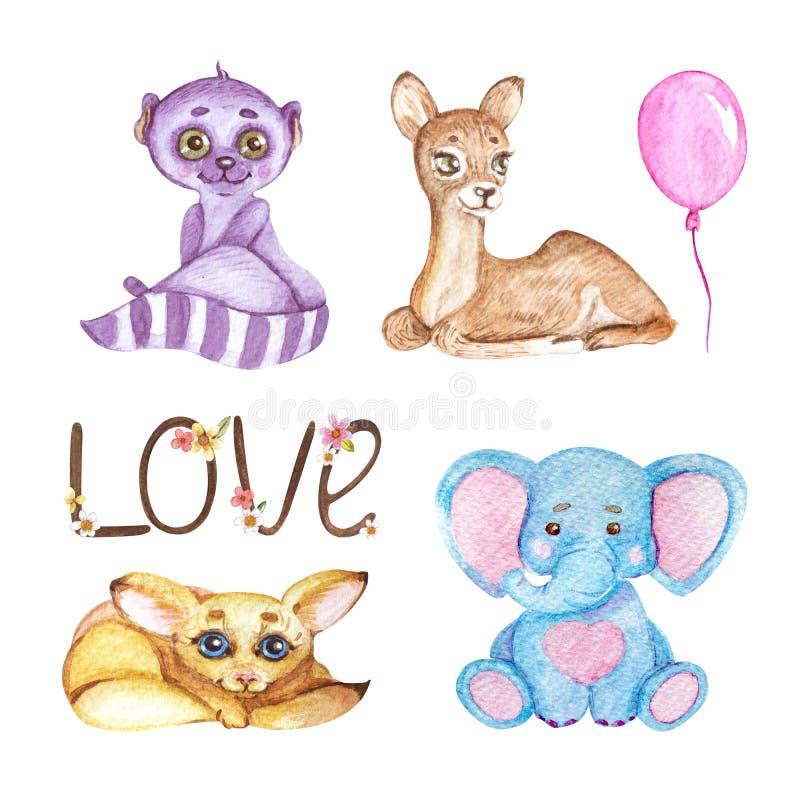 Χαριτωμένα ζώα Watercolor απεικόνιση για τα παιδιά διανυσματική απεικόνιση