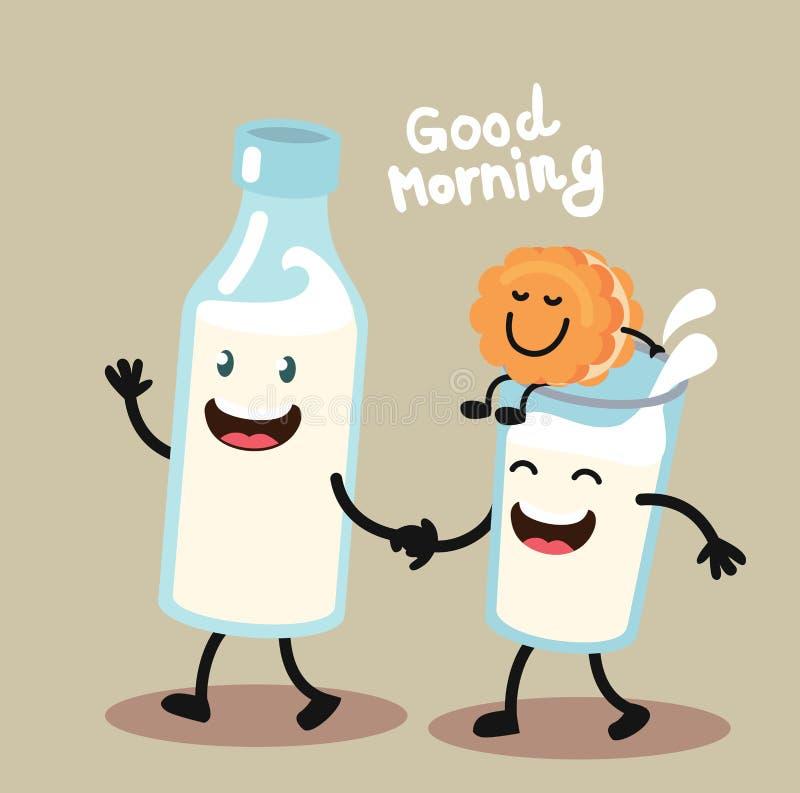 Χαριτωμένα και αστεία μπισκότο και γάλα διανυσματική απεικόνιση
