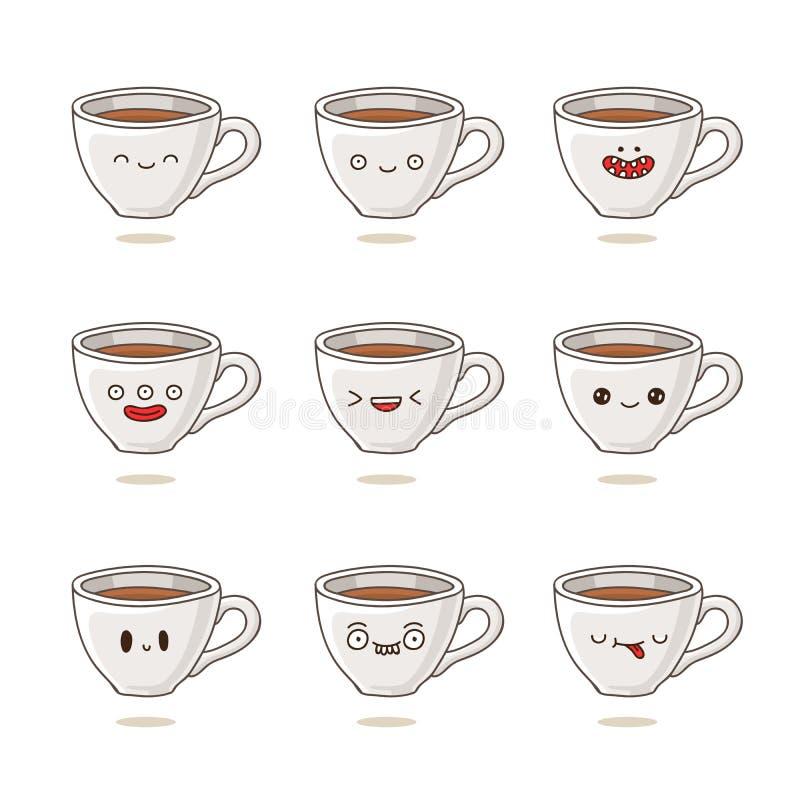 Χαριτωμένα και αστεία φλυτζάνια καφέ με τις διαφορετικές συγκινήσεις ελεύθερη απεικόνιση δικαιώματος