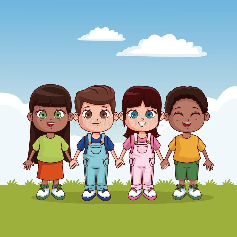 Χαριτωμένα και ευτυχή παιδιά διανυσματική απεικόνιση