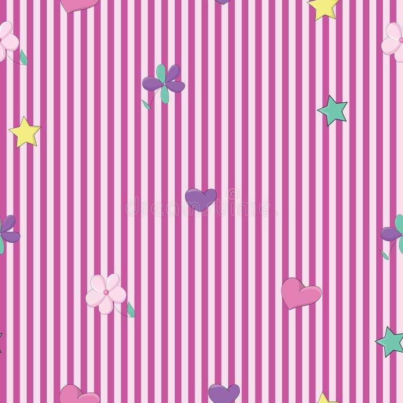 Χαριτωμένα και ζωηρόχρωμα αναδρομικά λωρίδες για το άνευ ραφής διάνυσμα σχεδίων παιδιών ελεύθερη απεικόνιση δικαιώματος