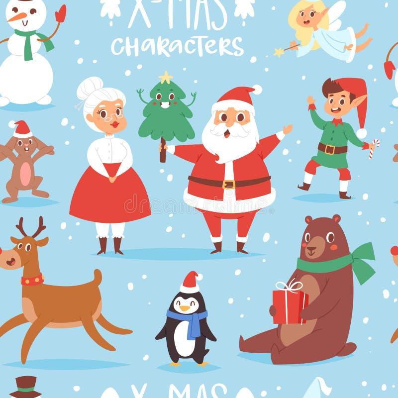 Χαριτωμένα κινούμενα σχέδια Άγιος Βασίλης, χιονάνθρωπος, τάρανδος, Χριστούγεννα χαρακτήρων Χριστουγέννων τα διανυσματικά αντέχουν ελεύθερη απεικόνιση δικαιώματος