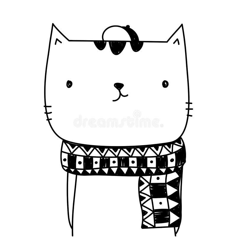 Χαριτωμένα κινούμενα σχέδια γατών που απομονώνονται στο άσπρο υπόβαθρο για το έμβλημα και gre απεικόνιση αποθεμάτων