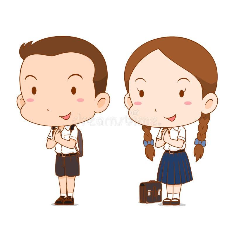 Χαριτωμένα κινούμενα σχέδια ζευγών του αγοριού και του κοριτσιού γυμνασίου ελεύθερη απεικόνιση δικαιώματος