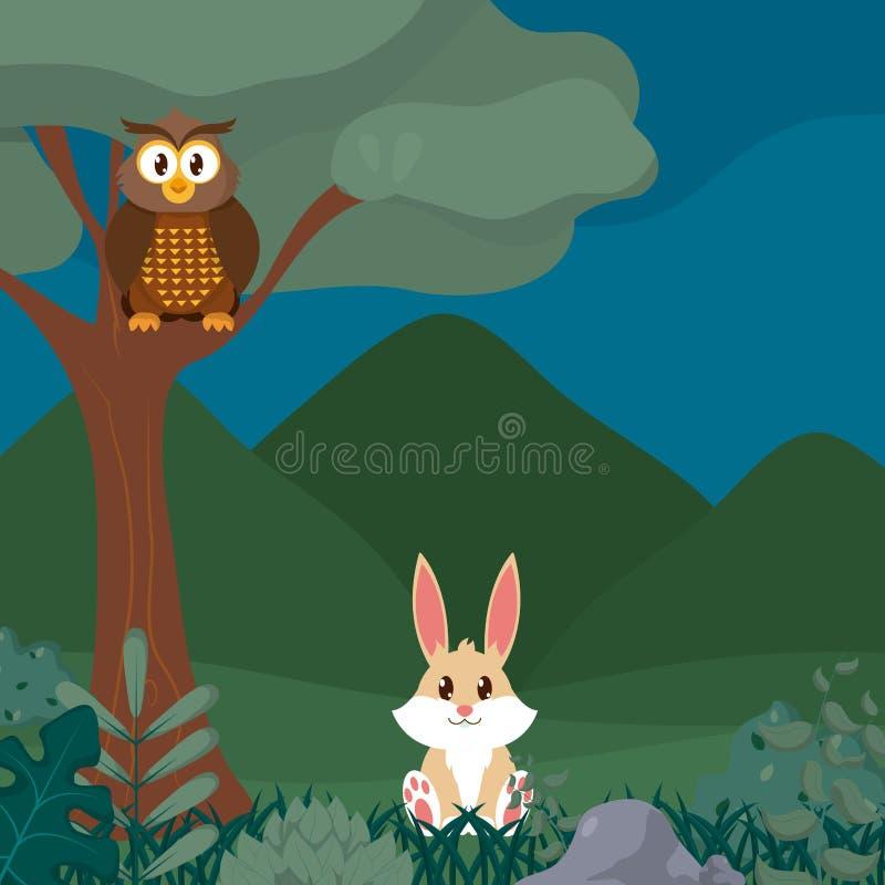 Χαριτωμένα κινούμενα σχέδια ζώων κουκουβαγιών και κουνελιών διανυσματική απεικόνιση