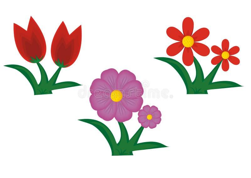 Χαριτωμένα κινούμενα σχέδια λουλουδιών ελεύθερη απεικόνιση δικαιώματος