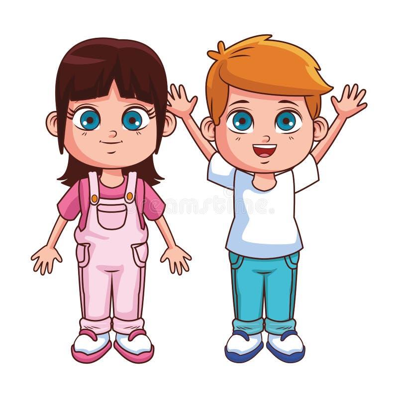 Χαριτωμένα κινούμενα σχέδια παιδιών διανυσματική απεικόνιση