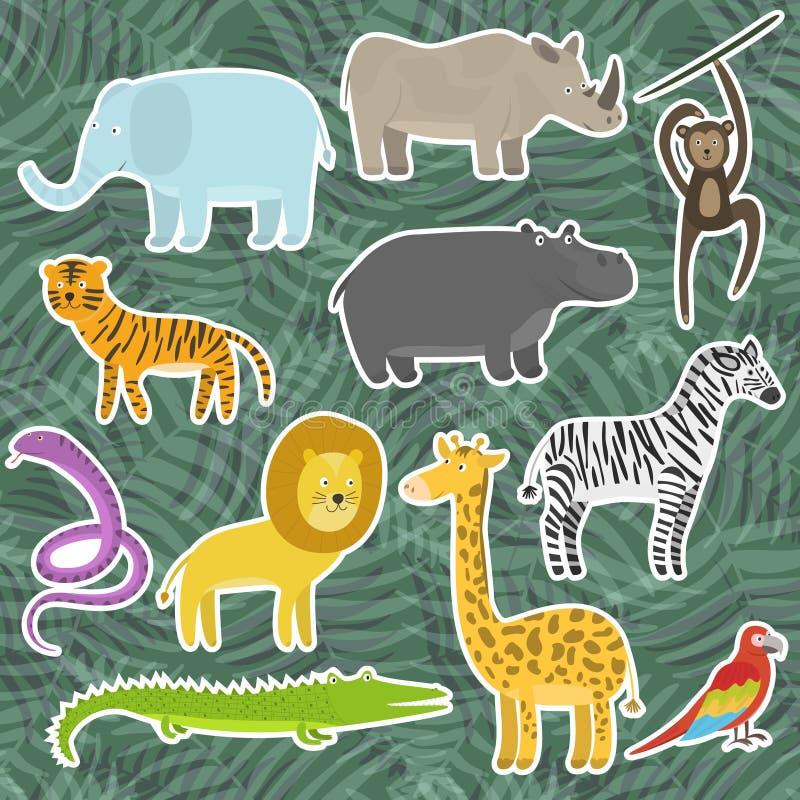 Χαριτωμένα κινούμενα σχέδια τροπικά και αυτοκόλλητες ετικέττες ζώων ζουγκλών ελεύθερη απεικόνιση δικαιώματος