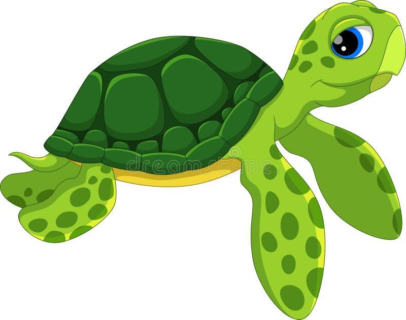 Χαριτωμένα κινούμενα σχέδια χελωνών θάλασσας Αστείος και λατρευτός διανυσματική απεικόνιση