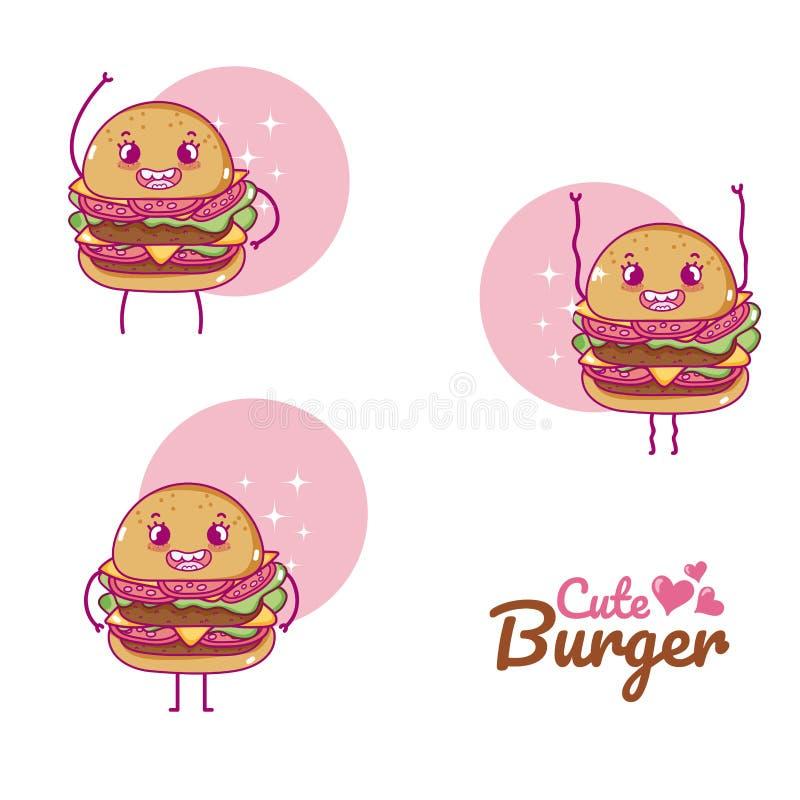 Χαριτωμένα κινούμενα σχέδια burgers ελεύθερη απεικόνιση δικαιώματος