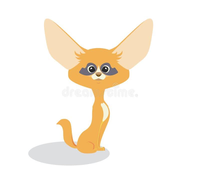 Χαριτωμένα κινούμενα σχέδια fennec Χαριτωμένη κόκκινη μικρή αλεπού με τα μεγάλα αστεία αυτιά απεικόνιση αποθεμάτων