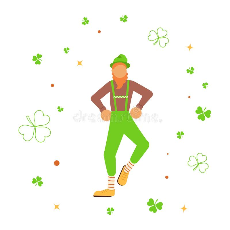 Χαριτωμένα κινούμενα σχέδια leprechaun που χορεύουν μεταξύ του τριφυλλιού απεικόνιση αποθεμάτων