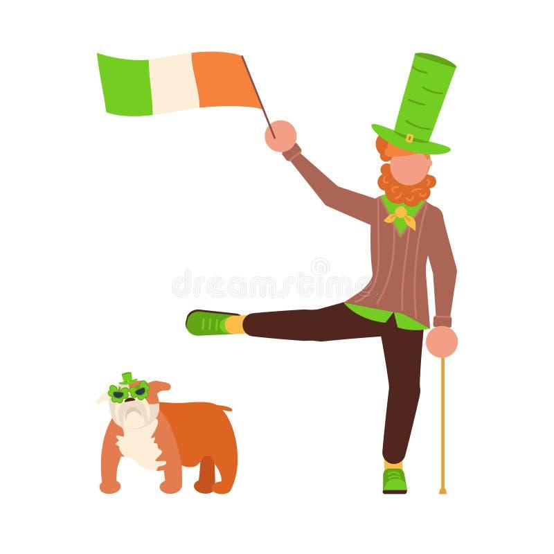 Χαριτωμένα κινούμενα σχέδια leprechauns με την ιρλανδική σημαία ελεύθερη απεικόνιση δικαιώματος