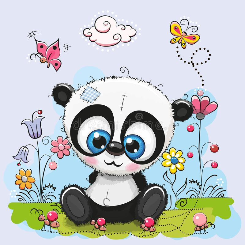 Χαριτωμένα κινούμενα σχέδια Panda με τα λουλούδια και τις πεταλούδες ελεύθερη απεικόνιση δικαιώματος