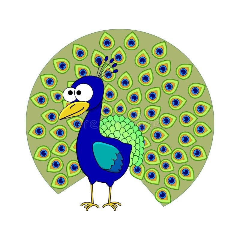 Χαριτωμένα κινούμενα σχέδια peacock ελεύθερη απεικόνιση δικαιώματος