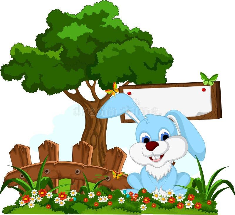 Χαριτωμένα κινούμενα σχέδια κουνελιών με τον κενό πίνακα στον κήπο λουλουδιών διανυσματική απεικόνιση
