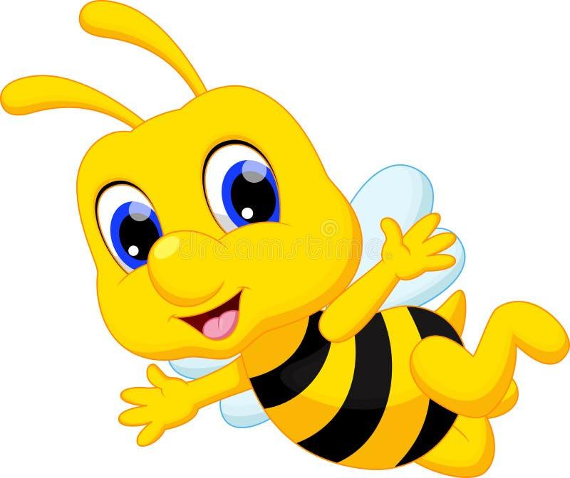 Χαριτωμένα κινούμενα σχέδια μελισσών διανυσματική απεικόνιση