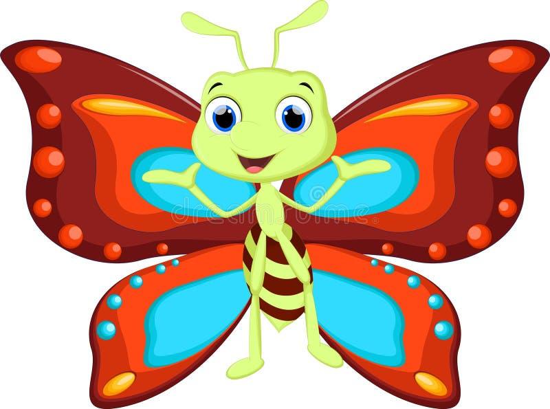 Χαριτωμένα κινούμενα σχέδια πεταλούδων απεικόνιση αποθεμάτων