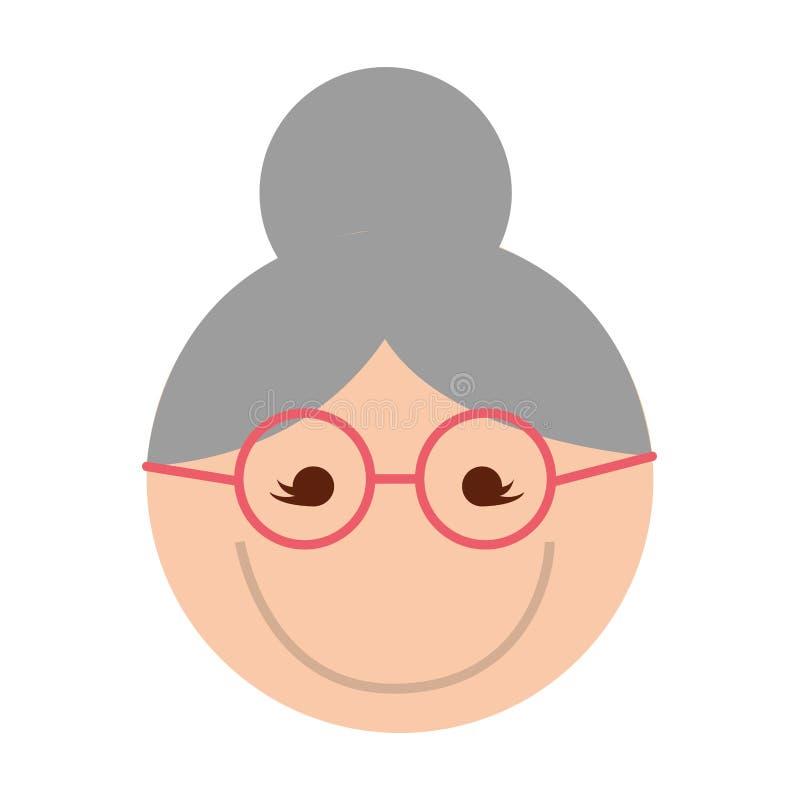 Χαριτωμένα κινούμενα σχέδια προσώπου γιαγιάδων διανυσματική απεικόνιση