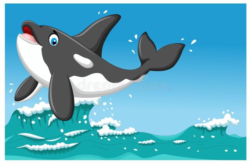 Χαριτωμένα κινούμενα σχέδια φαλαινών δολοφόνων που πηδούν με το υπόβαθρο ζωής θάλασσας διανυσματική απεικόνιση