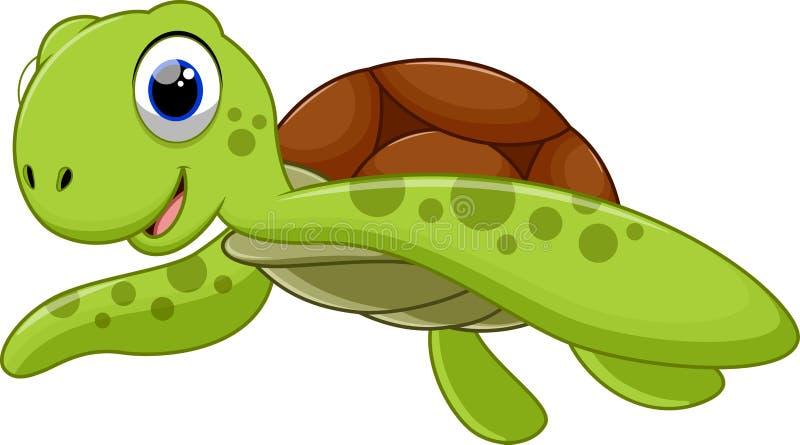 Χαριτωμένα κινούμενα σχέδια χελωνών θάλασσας διανυσματική απεικόνιση