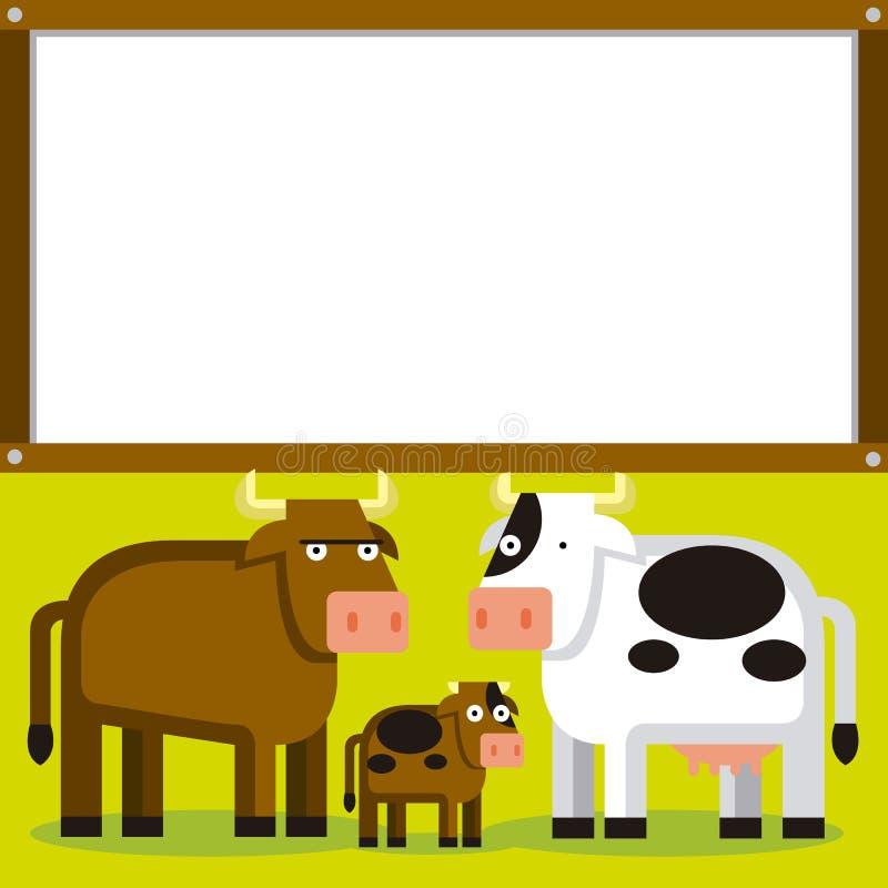 Χαριτωμένα κινούμενα σχέδια Bull, αγελάδα και μόσχος με το διάστημα διανυσματική απεικόνιση