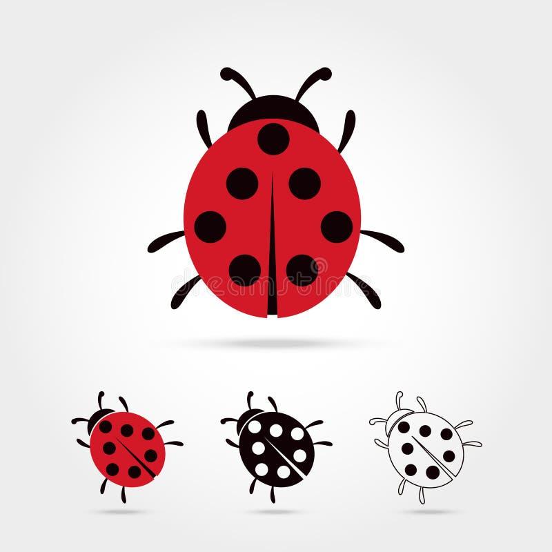 Χαριτωμένα κινούμενα σχέδια ladybug διανυσματική απεικόνιση