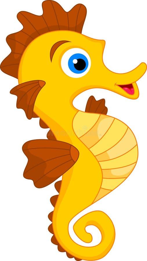 Χαριτωμένα κινούμενα σχέδια Seahorse διανυσματική απεικόνιση