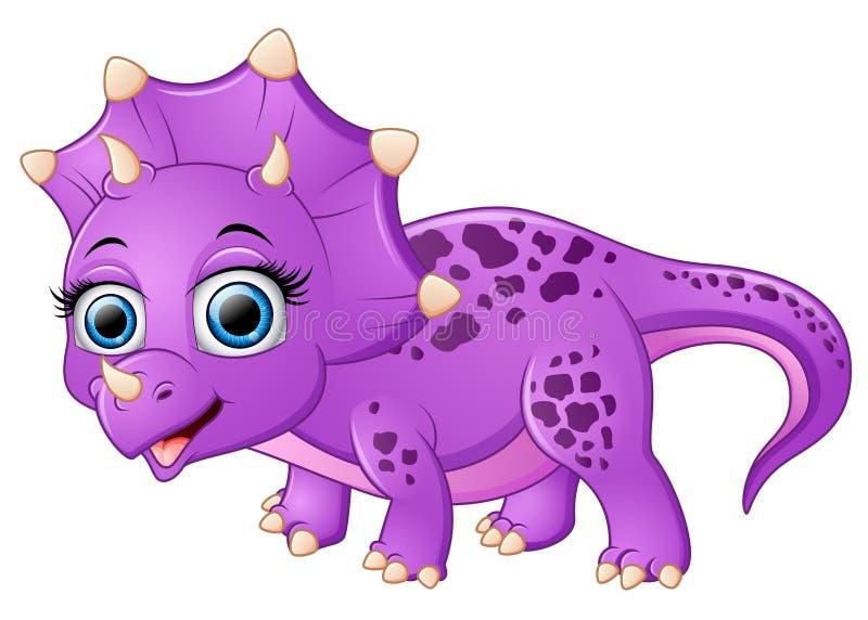 Χαριτωμένα κινούμενα σχέδια triceratops διανυσματική απεικόνιση