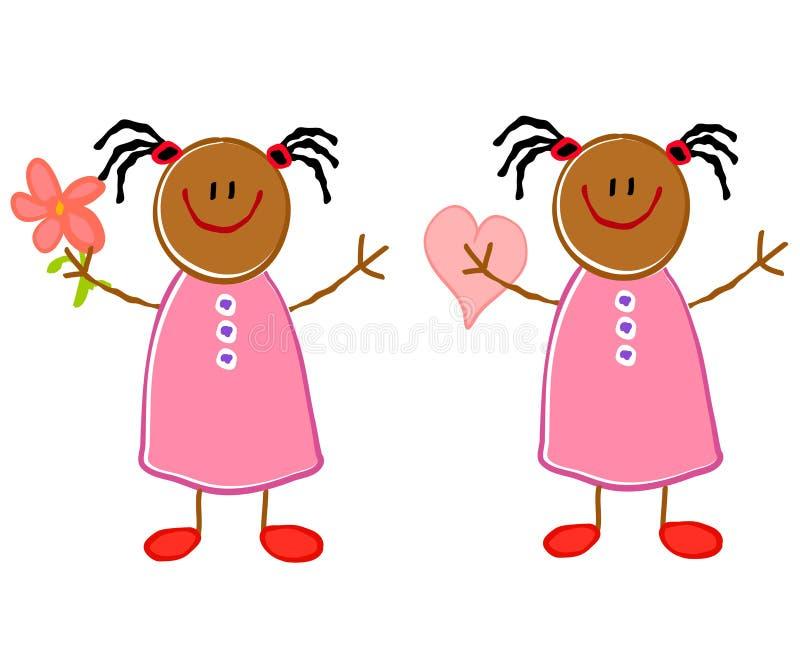 χαριτωμένα κορίτσια αφρο&alp διανυσματική απεικόνιση