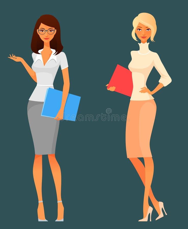 Χαριτωμένα κορίτσια γραφείων κινούμενων σχεδίων διανυσματική απεικόνιση