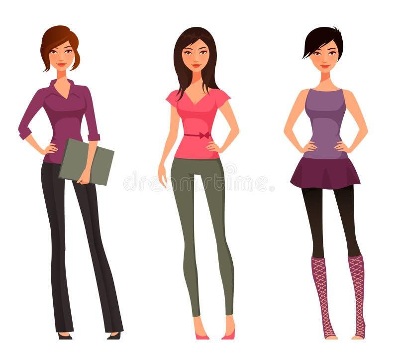 Χαριτωμένα κορίτσια κινούμενων σχεδίων απεικόνιση αποθεμάτων