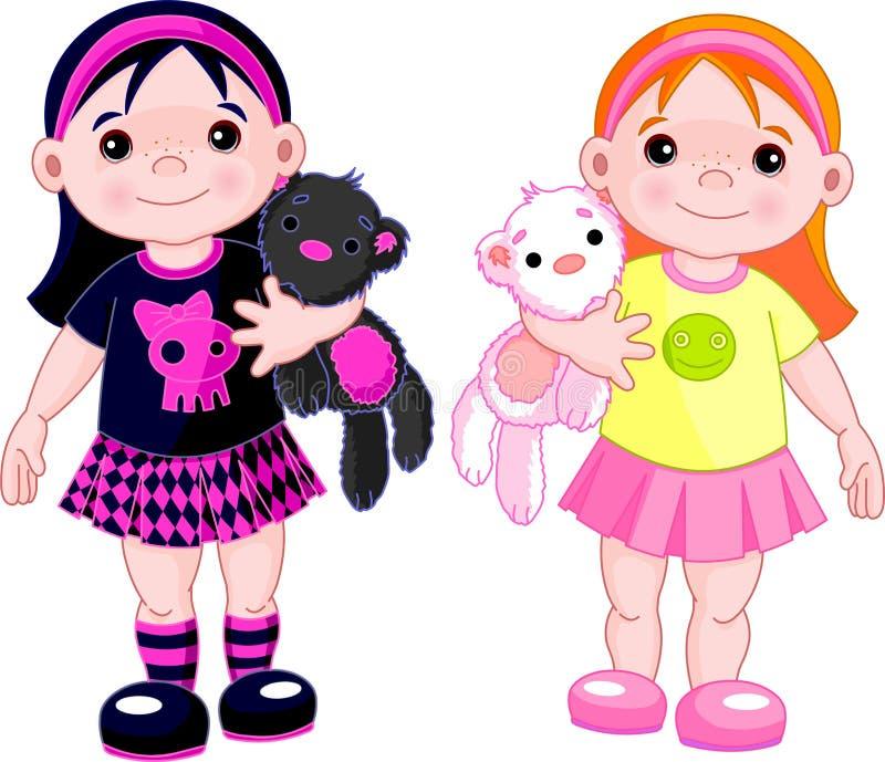 χαριτωμένα κορίτσια λίγα απεικόνιση αποθεμάτων