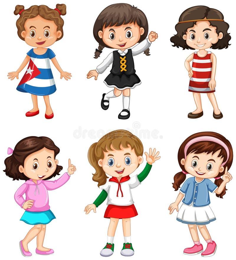 Χαριτωμένα κορίτσια με το ευτυχές πρόσωπο διανυσματική απεικόνιση