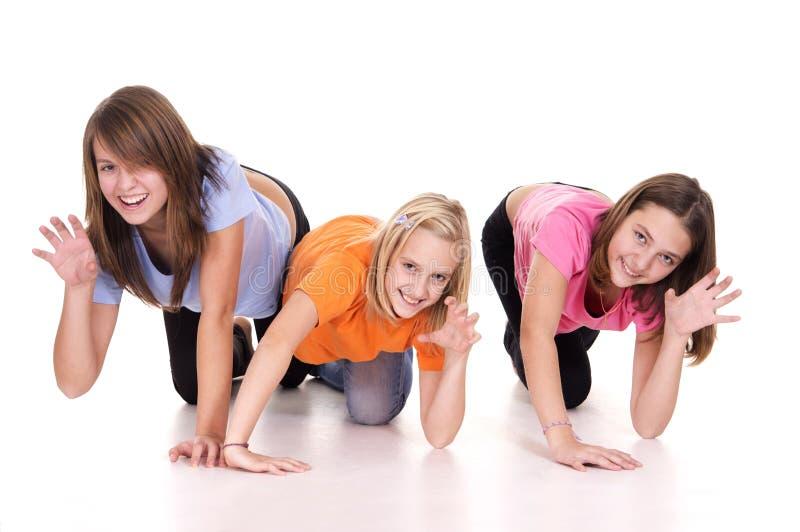 χαριτωμένα κορίτσια τρει&sigm στοκ φωτογραφία