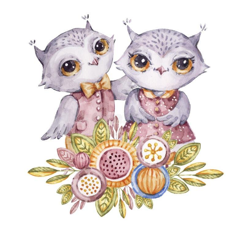 Χαριτωμένα κουκουβάγιες και λουλούδια watercolor στο παιδαριώδες ύφος ελεύθερη απεικόνιση δικαιώματος