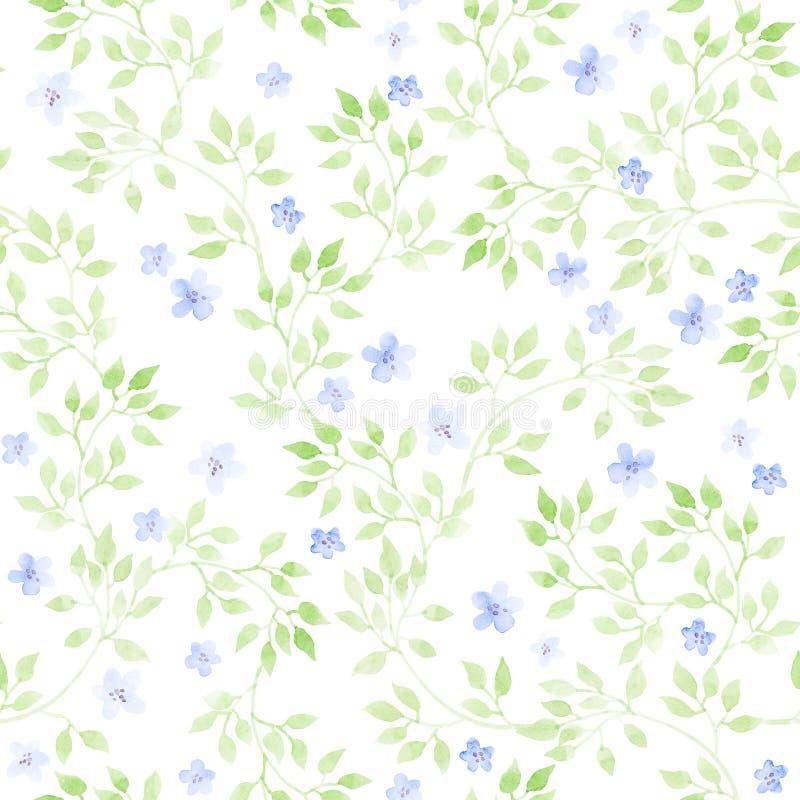 Χαριτωμένα λουλούδια, άγρια χορτάρια, χλόες λιβαδιών Ditsy σχέδιο επανάληψης κρητιδογραφιών watercolour ελεύθερη απεικόνιση δικαιώματος
