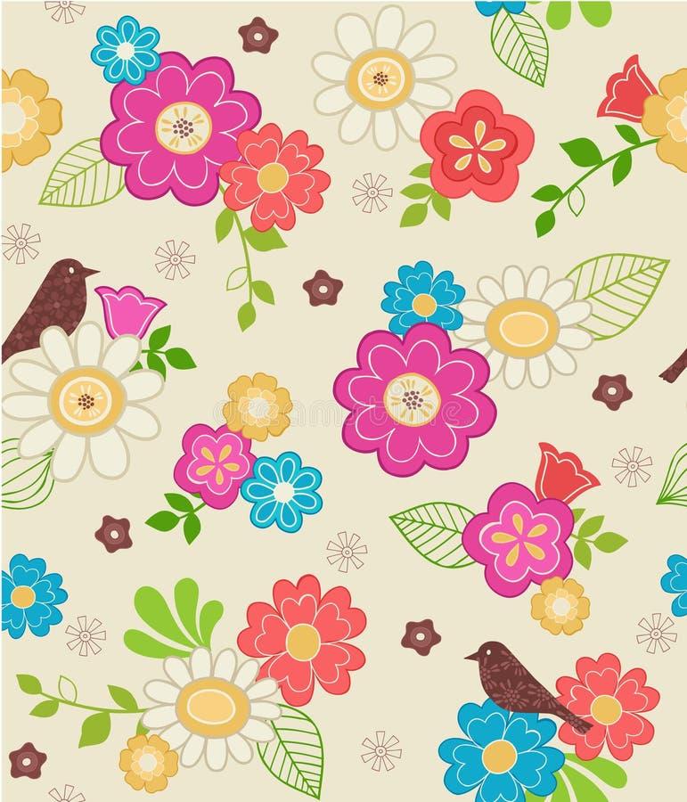 Χαριτωμένα λουλούδια και άνευ ραφής πρότυπο πουλιών διανυσματική απεικόνιση