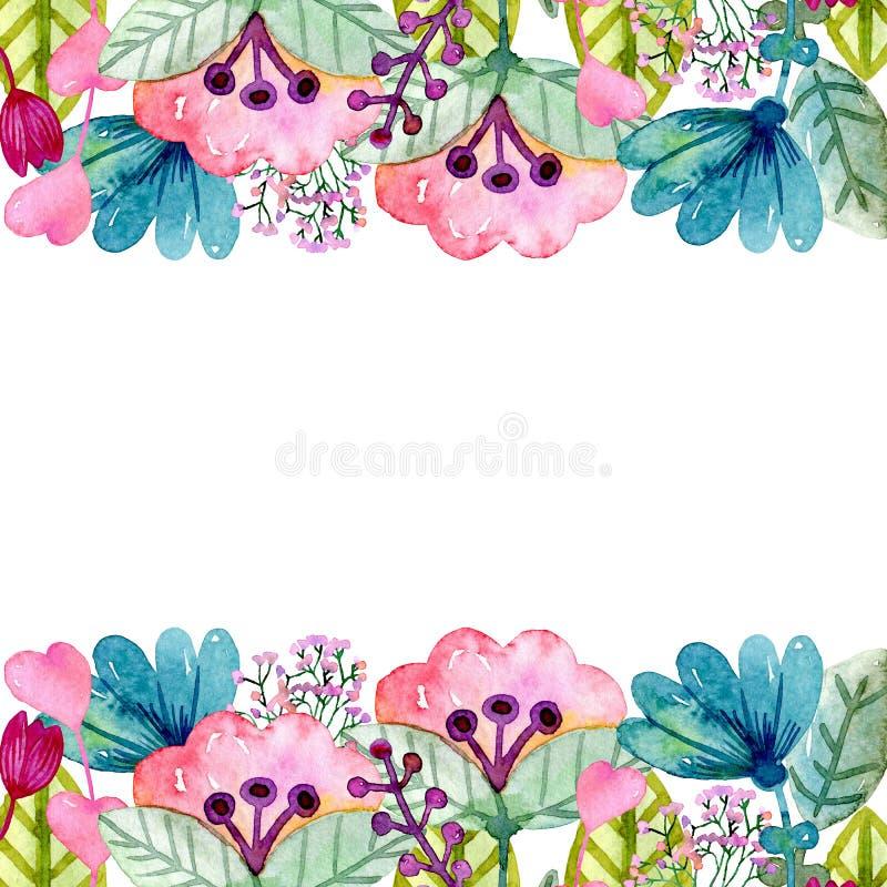 Χαριτωμένα λουλούδια Watercolor διανυσματική απεικόνιση