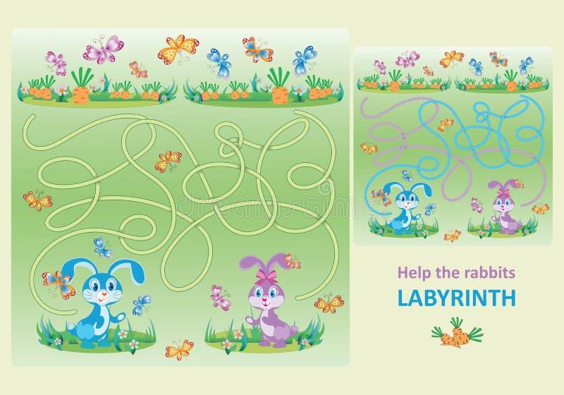 Χαριτωμένα μικρά κουνέλια Βοηθήστε τα κουνέλια να βρούν τα καρότα τους ελεύθερη απεικόνιση δικαιώματος