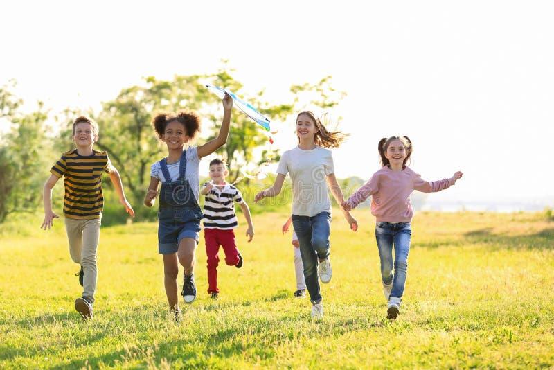 Χαριτωμένα μικρά παιδιά που παίζουν με τον ικτίνο υπαίθρια στοκ φωτογραφία με δικαίωμα ελεύθερης χρήσης