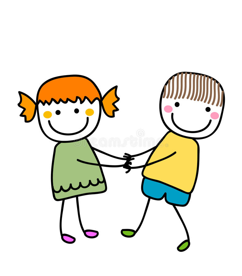 Χαριτωμένα μικρό κορίτσι και αγόρι ελεύθερη απεικόνιση δικαιώματος