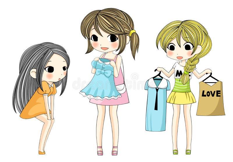 Χαριτωμένα μοντέρνα κορίτσια κινούμενων σχεδίων που παρουσιάζουν νέο φόρεμά της β διανυσματική απεικόνιση