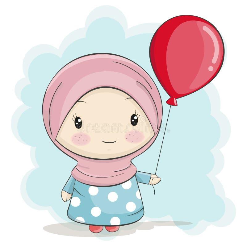 Χαριτωμένα μουσουλμανικά κινούμενα σχέδια κοριτσιών με το κόκκινο μπαλόνι ελεύθερη απεικόνιση δικαιώματος