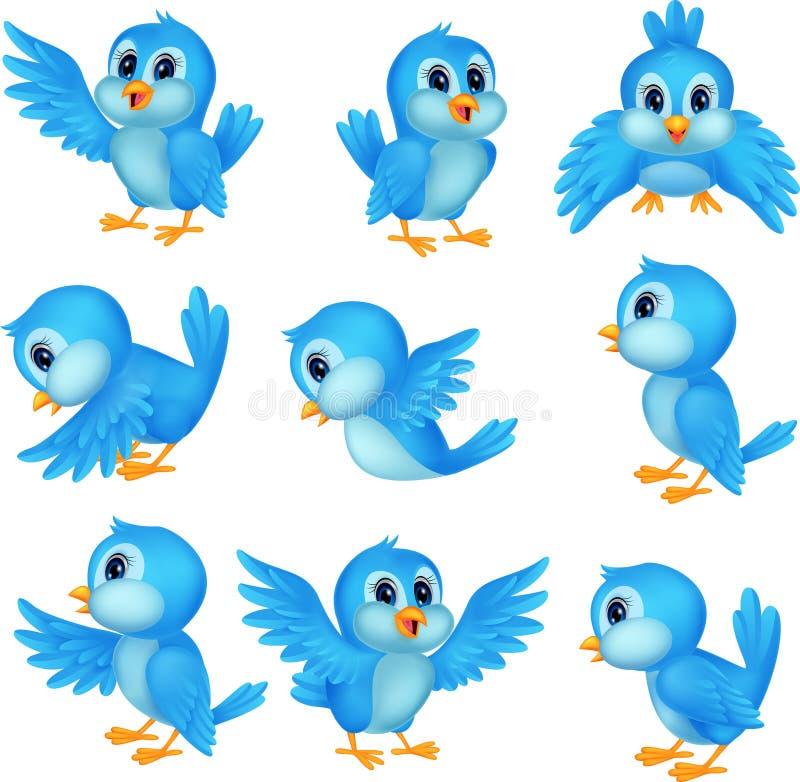 Χαριτωμένα μπλε κινούμενα σχέδια πουλιών διανυσματική απεικόνιση