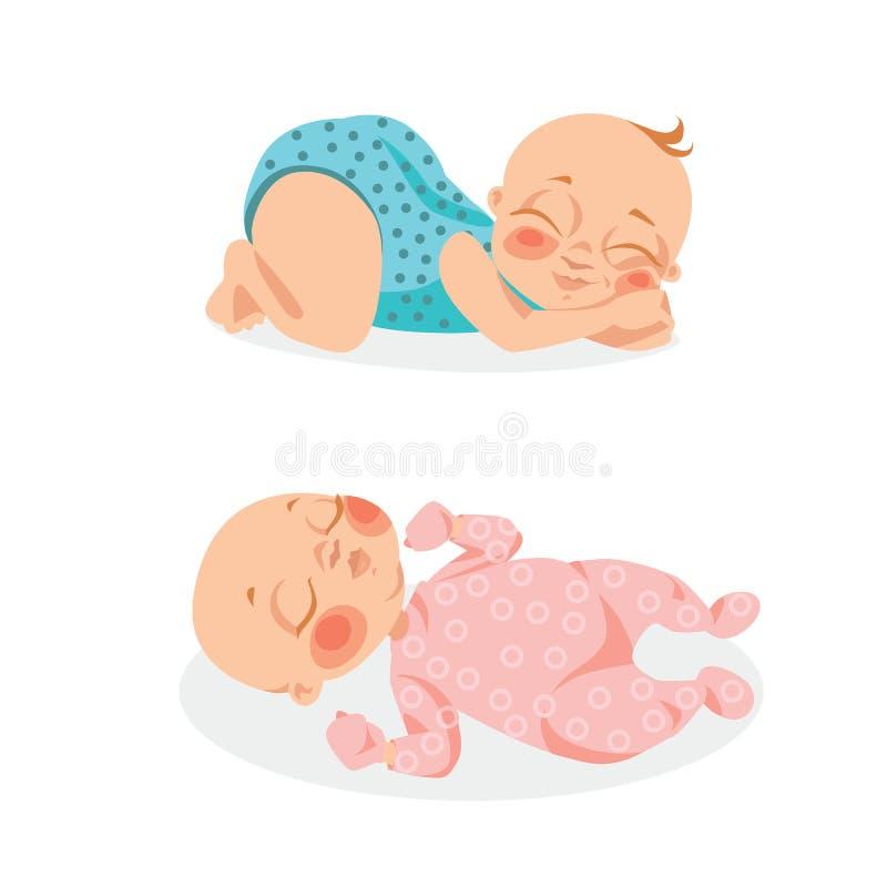 Χαριτωμένα μωρά στο ύφος κινούμενων σχεδίων διανυσματική απεικόνιση
