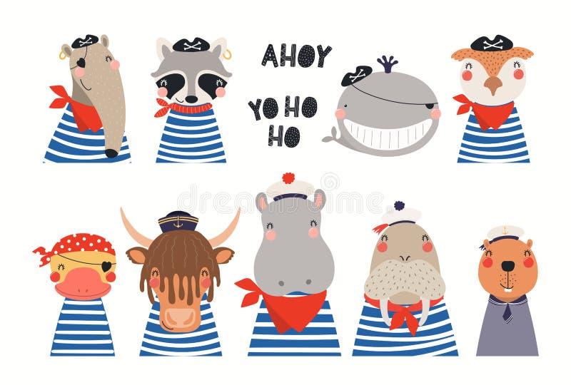 Χαριτωμένα ναυτικά ζώα καθορισμένα απεικόνιση αποθεμάτων