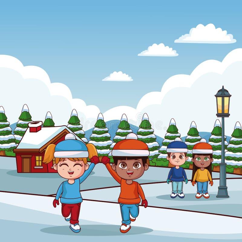 Χαριτωμένα παιδιά στα χειμερινά κινούμενα σχέδια απεικόνιση αποθεμάτων